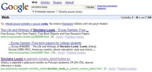 Výsledky hledání v Google slova Sinclair Lewis